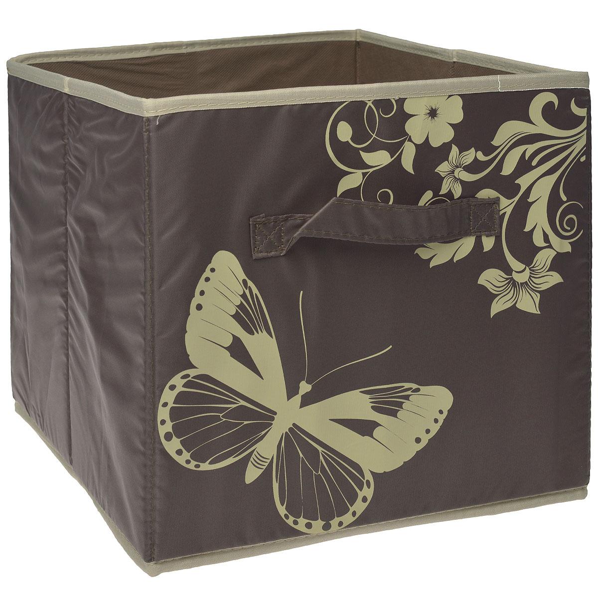 Ящик для хранения Hausmann, без крышки, цвет: коричневый, 31 x 34 x 29,5 см4P-108Ящик для хранения Hausmann выполнен из высококачественного нетканого волокна и полиэстера и декорирован изображением бабочек. Во внутрь стенок вставлен плотный картон, благодаря которому ящик сохраняет свою форму. Особая конструкция позволяет при необходимости быстро сложить или разложить ящик. Такой ящик сэкономит место и сохранит порядок в доме. Материал: нетканое волокно, полиэстер, картон.