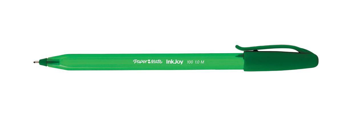 Ручка шариковая INKJOY 100, с колпачком,зеленая, пластик тонир., корпус в цвет чернил, 1мм610842Особенности: Треугольный корпусТонированный корпус в цвет чернил