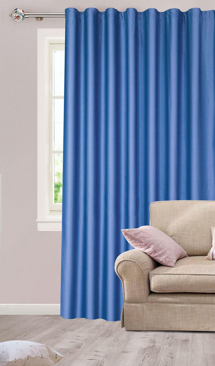 Штора для гостиной Garden, на ленте, цвет: темно-синий, размер 200*260 см. с w1223 V79118с w1223 V79118Роскошная штора-портьера Garden выполнена из сатина (100% полиэстера). Материал плотный и мягкий на ощупь. Оригинальная текстура ткани и нежный цвет привлекут к себе внимание и органично впишутся в интерьер помещения. Эта штора будет долгое время радовать вас и вашу семью! Штора крепится на карниз при помощи ленты, которая поможет красиво и равномерно задрапировать верх. Стирка при температуре 30°С.