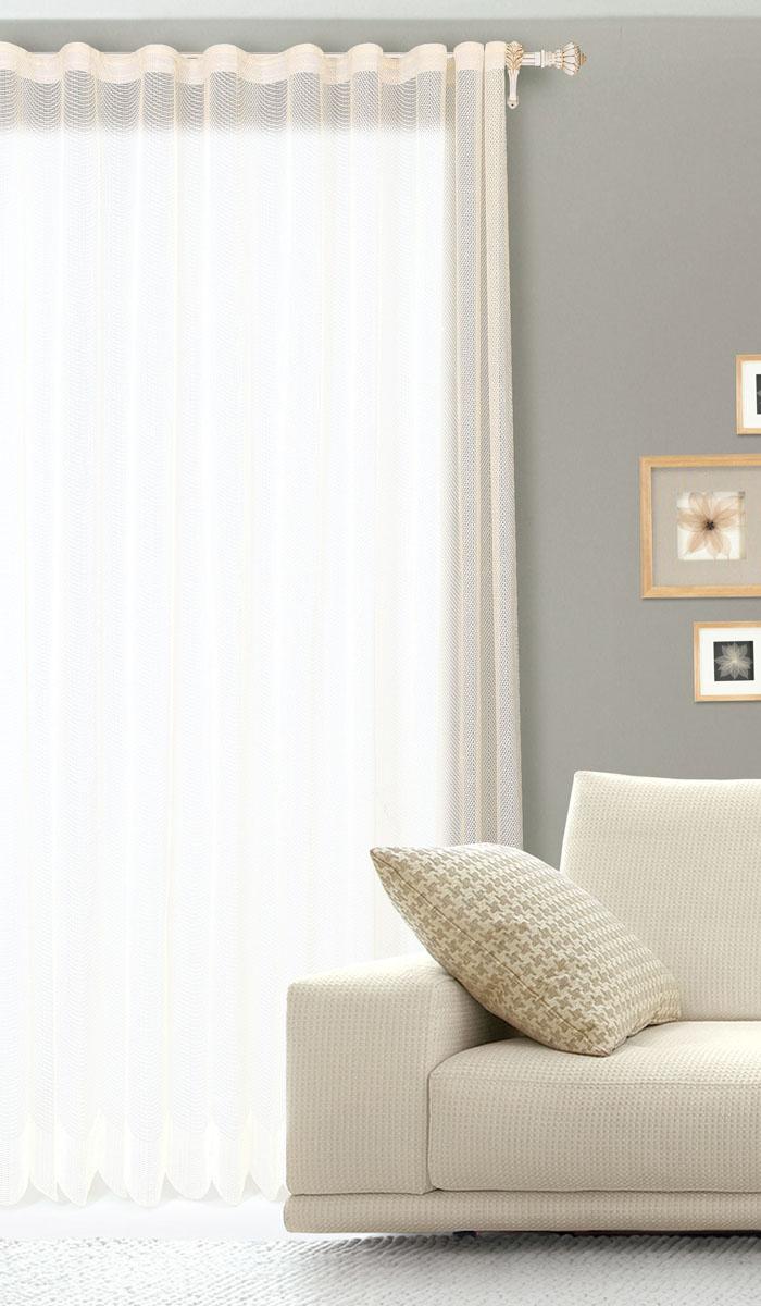 Штора готовая для гостиной Garden, на ленте, цвет: бежевый, размер 300 х 260 см. С 537299 V153310503Готовая штора для гостиной Garden выполнена из сетчатой ткани (100% полиэстера). Необычный дизайн и нежная цветовая гамма привлекут к себе внимание и органично впишутся в интерьер комнаты. Штора крепится на карниз при помощи ленты, которая поможет красиво и равномерно задрапировать верх. Штора Garden великолепно украсит любое окно.Стирка при температуре 30°С.