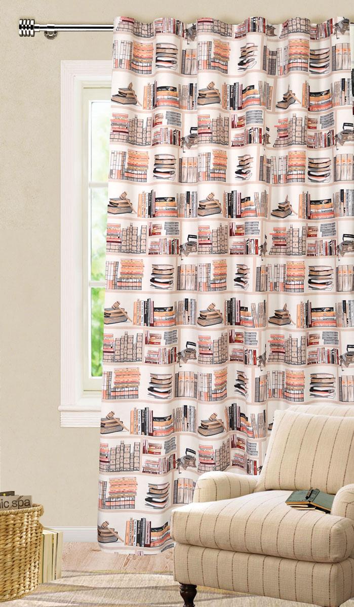 Штора готовая для гостиной Garden, на ленте, цвет: оранжевый, коричневый, размер 200*280 см. С 9154 - W1687 V3С 9154 - W1687 V3Роскошная штора-портьера Garden выполнена из ткани репс (100% полиэстера). Материал плотный и мягкий на ощупь. Оригинальная текстура ткани и яркие изображения книг привлекут к себе внимание и органично впишутся в интерьер помещения. Эта штора будет долгое время радовать вас и вашу семью! Штора крепится на карниз при помощи ленты, которая поможет красиво и равномерно задрапировать верх. Стирка при температуре 30°С.