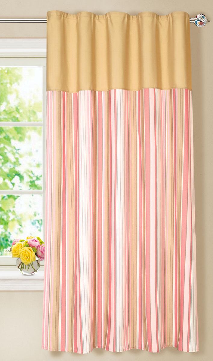 Штора готовая для кухни Garden, на ленте, цвет: розовый, размер 150* 180 см. С7213-W1687-W1687V8С 7213 - W1687 - W1687 V8Элегантная портьерная штора Garden выполнена из ткани репс (полиэстер). Плотная ткань, приятная цветовая гамма, принт в полоску привлекут к себе внимание и органично впишутся в интерьер помещения. Эта штора будет долгое время радовать вас и вашу семью! Штора крепится на карниз при помощи ленты, которая поможет красиво и равномерно задрапировать верх.