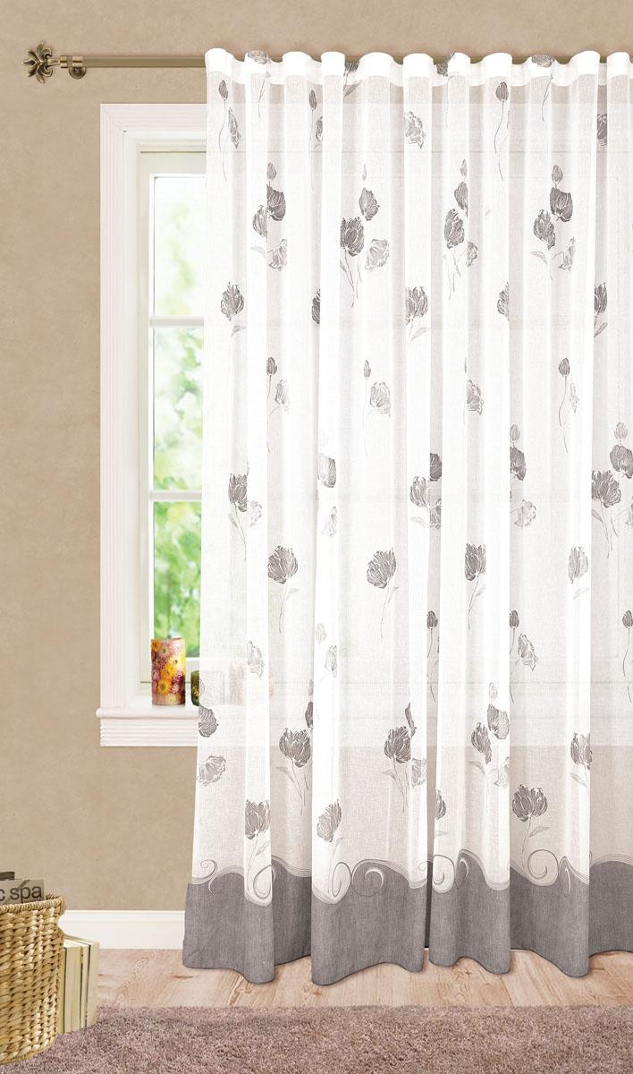 Штора готовая для гостиной Garden Цветы, на ленте, цвет: серый, размер 300*260 смС 6318 - W628 V14Изящная тюлевая штора Garden Цветы выполнена из высококачественного батиста (полиэстера). Полупрозрачная ткань, приятный цвет, цветочный принт привлекут к себе внимание и органично впишутся в интерьер помещения. Такая штора идеально подходит для солнечных комнат. Мягко рассеивая прямые лучи, она хорошо пропускает дневной свет и защищает от посторонних глаз. Отличное решение для многослойного оформления окон. Эта штора будет долгое время радовать вас и вашу семью! Штора крепится на карниз при помощи ленты, которая поможет красиво и равномерно задрапировать верх.