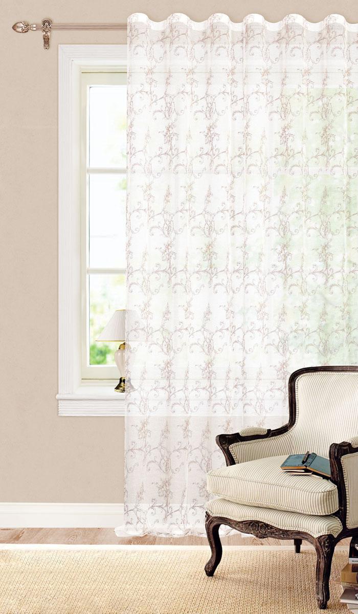 Штора готовая для гостиной Garden, на ленте, цвет: белый, коричневый, размер 260 см. С 3223 - W628 V3С 3223 - W628 V3Готовая тюлевая штора для гостиной Garden выполнена из батиста (100% полиэстера) с изящным цветочным принтом. Полупрозрачность материала, вуалевая текстура и нежная цветовая гамма привлекут к себе внимание и органично впишутся в интерьер комнаты. Штора крепится на карниз при помощи ленты, которая поможет красиво и равномерно задрапировать верх. Штора Garden великолепно украсит любое окно. Стирка при температуре 30°С.