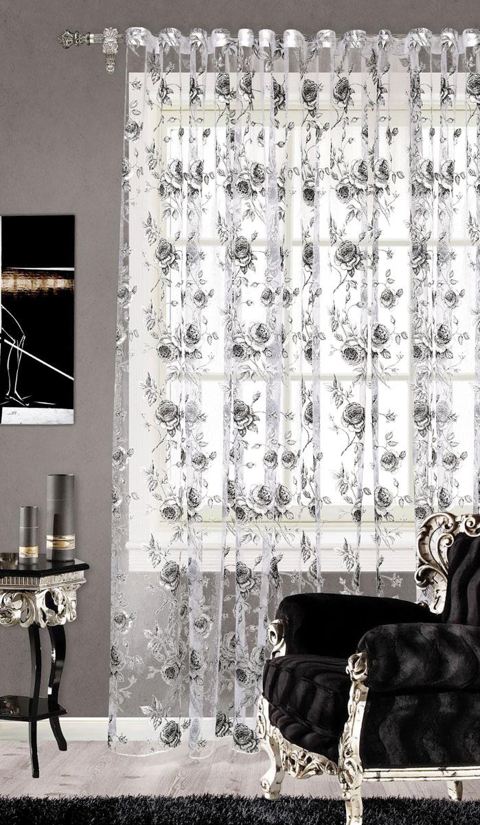 Штора готовая для гостиной Garden, на ленте, цвет: серый, размер 300* 260 см. С 2187 - W260 V1С 2187 - W260 V1Изящная тюлевая штора Garden выполнена из органзы (65% полиэстера и 35% вискозы). Полупрозрачная ткань, приятная цветовая гамма, цветочный принт привлекут к себе внимание и органично впишутся в интерьер помещения. Такая штора идеально подходит для солнечных комнат. Мягко рассеивая прямые лучи, она хорошо пропускает дневной свет и защищает от посторонних глаз. Отличное решение для многослойного оформления окон. Эта штора будет долгое время радовать вас и вашу семью! Штора крепится на карниз при помощи ленты, которая поможет красиво и равномерно задрапировать верх.