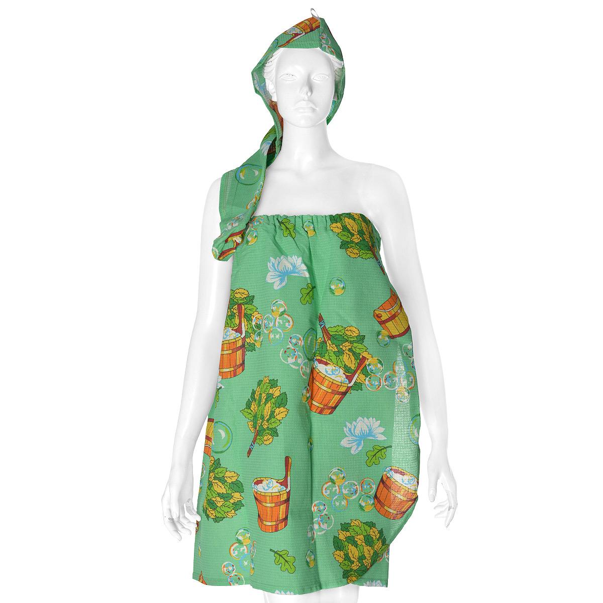 Комплект женский для бани и сауны Невский банщик, цвет: зеленый, 2 предметаБН26