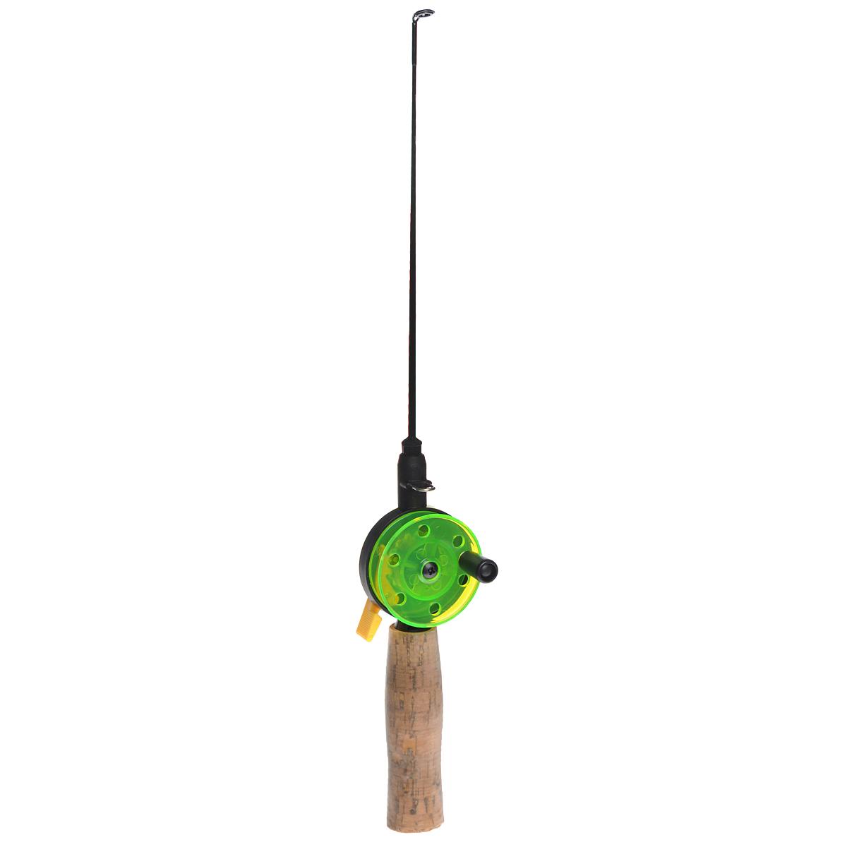 Удочка зимняя SWD HR106A, цвет: черный, зеленый, 37 см28383Зимняя удочка SWD HR106A с открытой катушкой диаметром 54 мм и клавишным стопором. Пластиковый хлыст длиной 21 см укомплектован тюльпаном. Ручка длиной 100 мм выполнена из пробки.