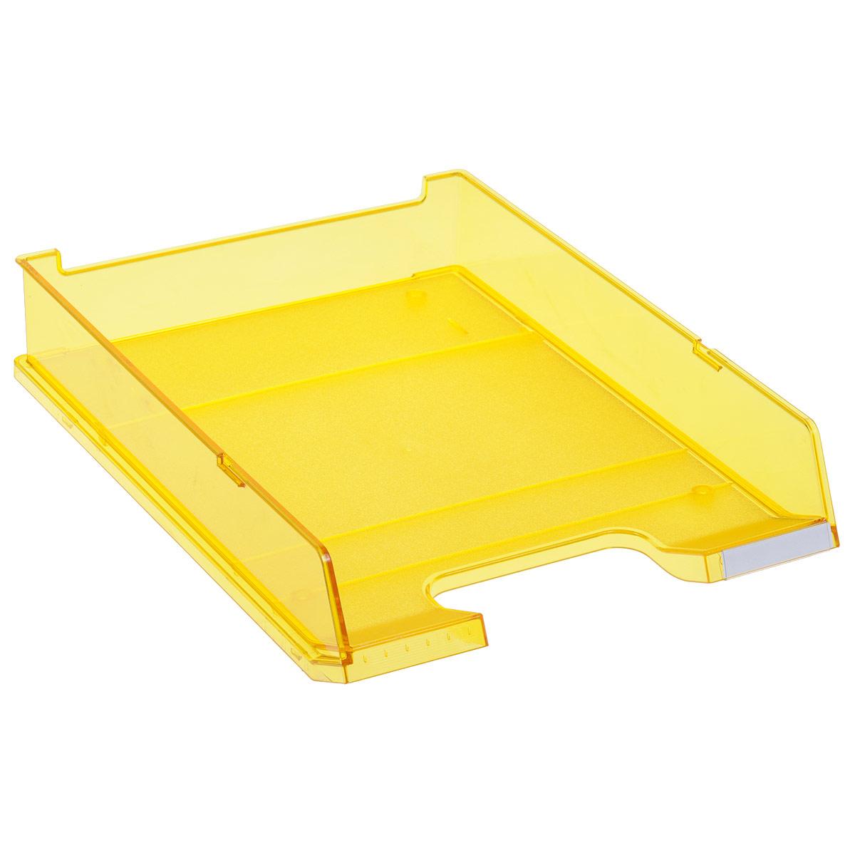 Лоток для бумаг горизонтальный HAN C4, прозрачный, цвет: желтыйHA1020/25Горизонтальный лоток для бумаг HAN C4 предназначен для хранения бумаг и документов формата А4. Лоток с оригинальным дизайном корпуса поможет вам навести порядок на столе и сэкономить пространство. Лоток изготовлен из экологически чистого прозрачного антистатического пластика. Приподнятая фронтальная часть лотка облегчает изъятие документов из накопителя. Лоток имеет пластиковые ножки, предотвращающие скольжение по столу. Также лоток оснащен небольшим прозрачным окошком для этикетки. Лоток для бумаг станет незаменимым помощником для работы с бумагами дома или в офисе, а его стильный дизайн впишется в любой интерьер. Благодаря лотку для бумаг, важные бумаги и документы всегда будут под рукой. Несколько лотков можно ставить друг на друга, один в другой и друг на друга со смещением.