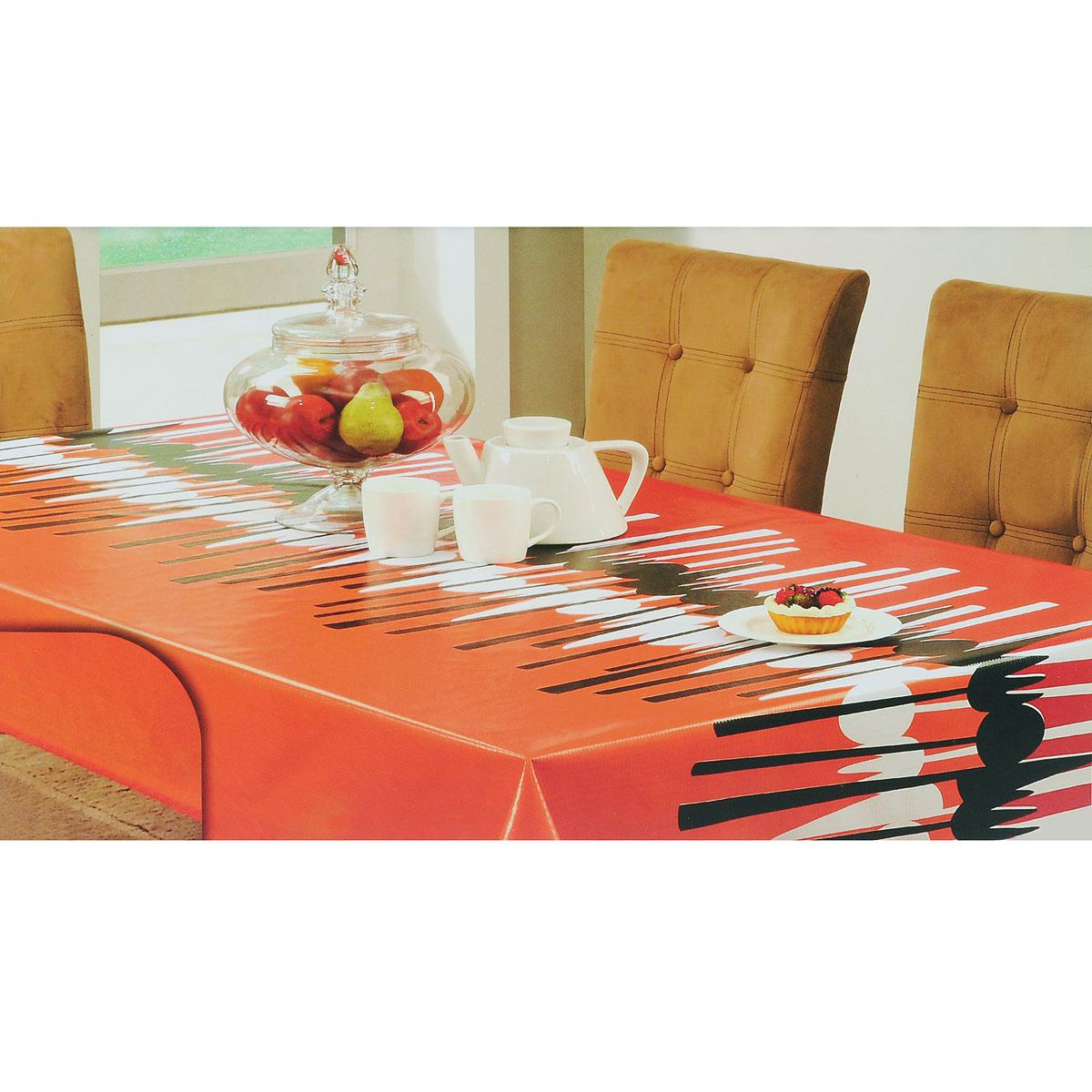 Скатерть White Fox Осень, прямоугольная, цвет: красный, оранжевый, 152 x 228 смWКTC72-260Прямоугольная скатерть White Fox Осень, выполненная из ПВХ с основой из флиса, предназначена для защиты стола от царапин, пятен и крошек. Край скатерти обработан тканью. Скатерть оформлена изображением столовых приборов, а рифлёная поверхность скатерти формирует приятные тактильные ощущения, при этом частички пищи удаляются с легкостью и поверхность остается всегда чистой. Скатерть термостойкая выдерживает температуру до +70 °C. Скатерть White Fox проста в уходе - её можно протирать любыми моющими средствами при необходимости. Скатерть упакована в виниловый пакет с внутренним цветным вкладышем и подвесом в виде крючка.