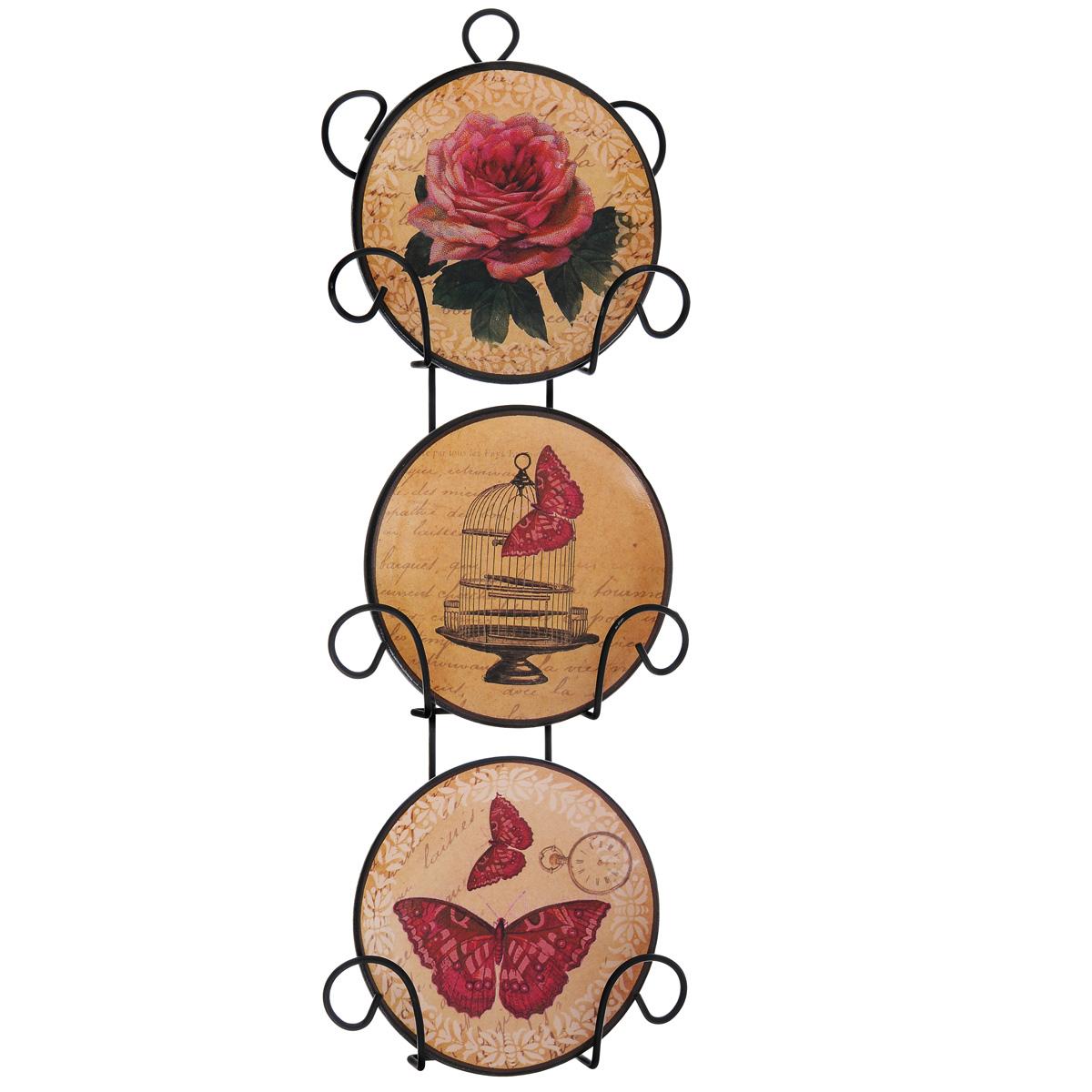 Набор декоративных тарелок Бабочки, диаметр 10 см, 3 шт36256Набор из трех декоративных тарелок с ярким рисунком украсят практически любое ваше помещение, будь то кухня, столовая, гостиная, холл и будут являться необычным дизайнерским решением. Тарелки выполнены из доломитовой керамики, подставка в виде вертикальной этажерки, благодаря которой сувенир удобно и быстро крепится к стене, - из черного металла. Каждая тарелочка, декорированная изображениями розы, клетки и бабочек, помещается в отдельную нишу. Очаровательный набор декоративных тарелок - замечательный подарок друзьям и близким людям.