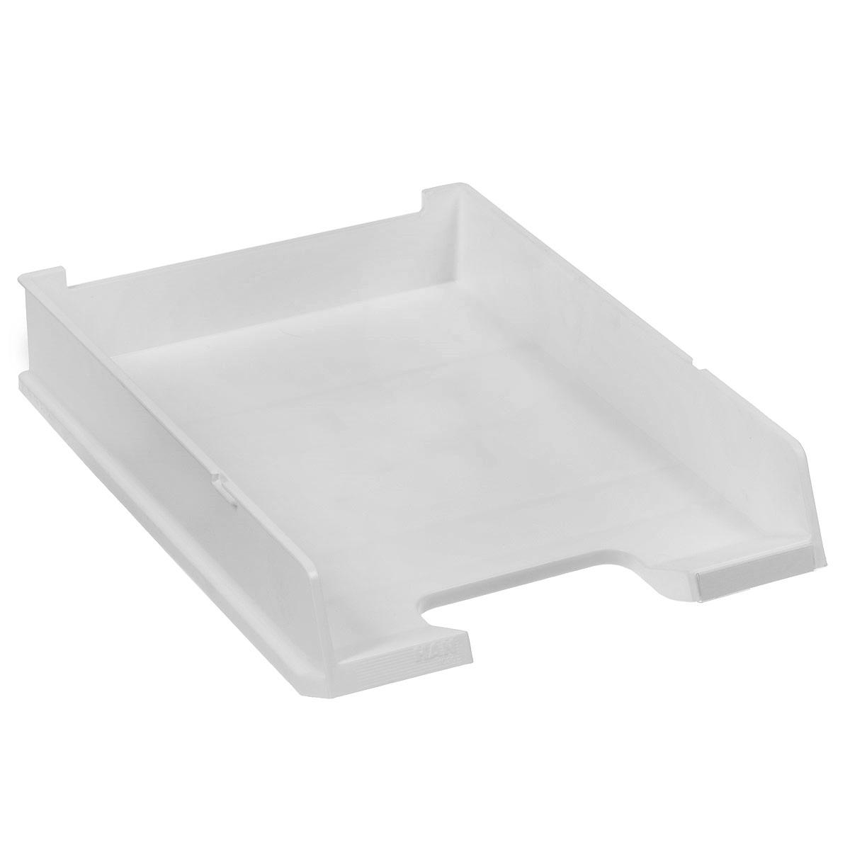 Лоток для бумаг горизонтальный HAN C4, цвет: светло-серый353.FГоризонтальный лоток для бумаг HAN C4 предназначен для хранения бумаг и документов формата А4. Лоток с оригинальным дизайном корпуса поможет вам навести порядок на столе и сэкономить пространство.Лоток изготовлен из экологически чистого непрозрачного антистатического пластика. Приподнятая фронтальная часть лотка облегчает изъятие документов из накопителя. Лоток имеет пластиковые ножки, предотвращающие скольжение по столу. Также лоток оснащен небольшим прозрачным окошком для этикетки. Лоток для бумаг станет незаменимым помощником для работы с бумагами дома или в офисе, а его стильный дизайн впишется в любой интерьер. Благодаря лотку для бумаг, важные бумаги и документы всегда будут под рукой.Несколько лотков можно ставить друг на друга, один в другой и друг на друга со смещением.