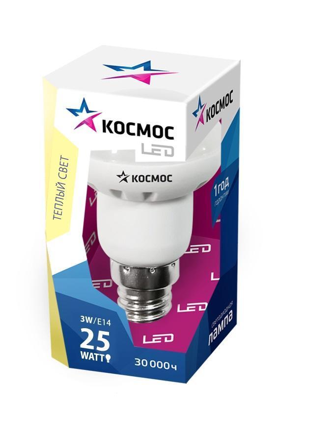 Светодиодная лампа Kosmos, теплый свет, цоколь E14, 3W, 220V Lksm LED3wR39E1430C0042415Светодиодное устройство КОСМОС R39 3Вт 220В E14 3000K (Lksm LED3wR39E1430) обладает рефлекторным типом колбы. Лампа рассчитана на номинальное напряжение в 220 Вольт. Характеризуется теплым белым свечением 3000К. Эксплуатационный срок модели составляет 50000 часов. Не требует утилизации. Способна заменить обычную лампу накаливания мощностью в 25 Ватт.