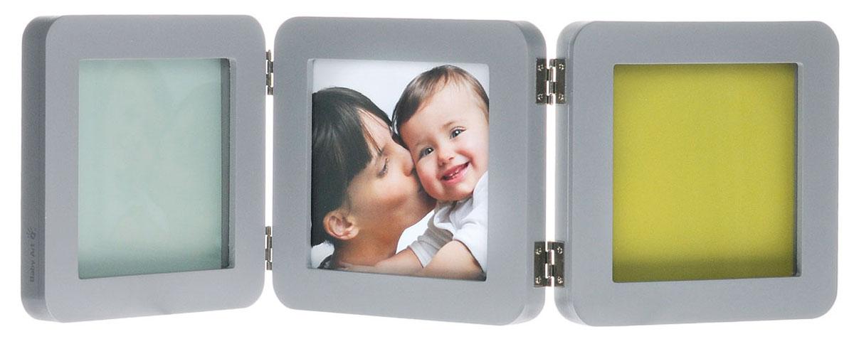 Baby Art Рамочка тройная Модерн с 4 цветными подложками цвет серый 34120139_сер_бирюз_фиолет