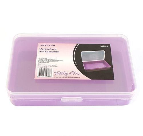 930522 Органайзер для хранения, 14.6*9.1*3.1см Hobby&Pro7706804Коробка для мелочей изготовленная из прозрачного пластика. В ней можно хранить мелкие предметы для рукоделия, например, бисер, блестки, стразы или пайетки. Изделие плотно закрывает прозрачной крышкой. Такая коробка поможет держать вещи в порядке.
