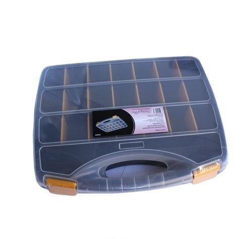 930523 Органайзер для хранения с 23 регулируемыми отделениями, 37.8*31*5.9см Hobby&ProFS-91909Контейнер для мелочей изготовлен из прозрачного пластика, что позволяет видеть содержимое. Внутри содержится 23 ячеек для хранения мелких принадлежностей. Крышка плотно закрывается. Такой контейнер поможет держать вещи в порядке. Идеально подходит для хранения принадлежностей для шитья и других мелких бытовых предметов.