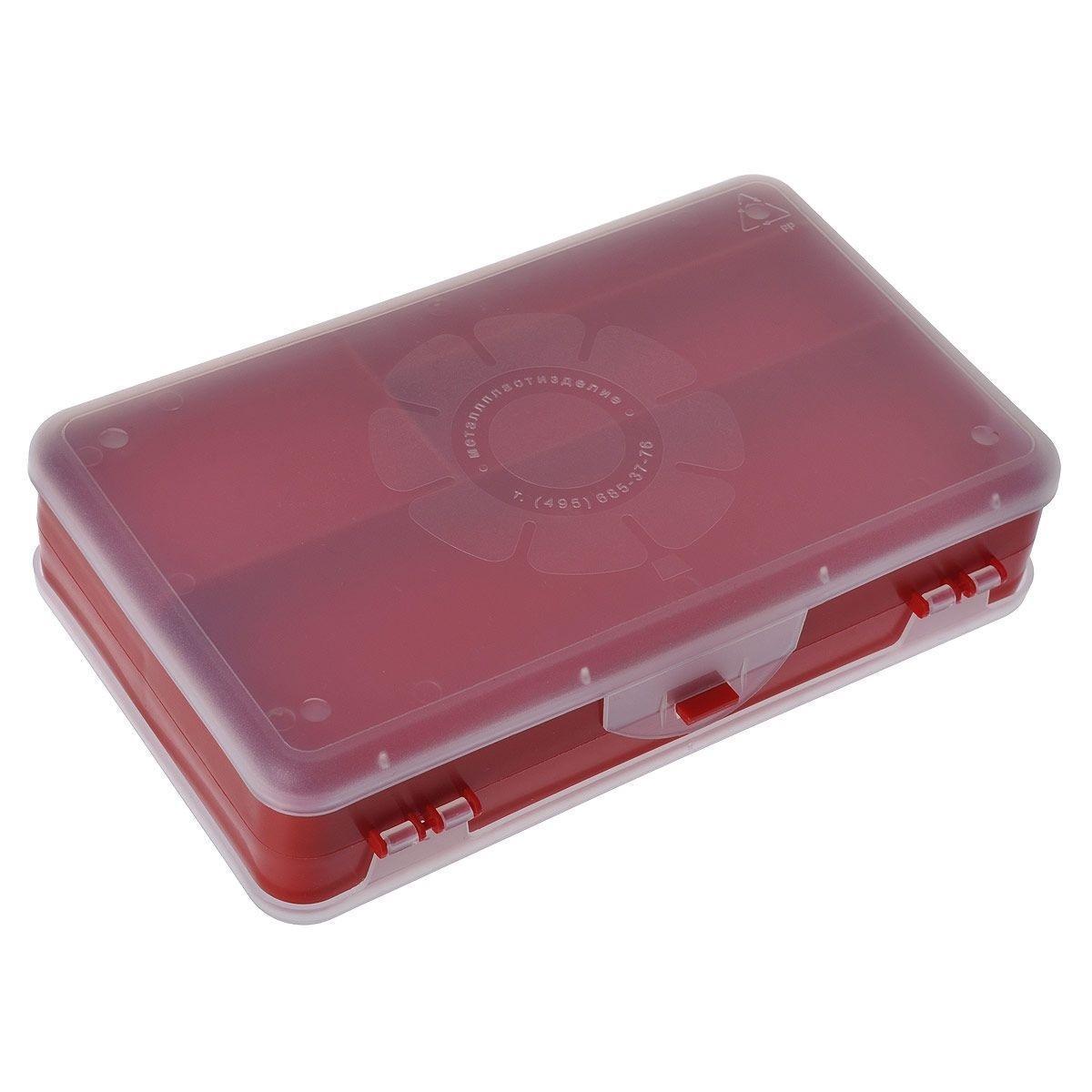 Шкатулка для мелочей Айрис, двухсторонняя, цвет: красный, прозрачный, 21,5 х 12,5 х 5 см 5337582000533758018Шкатулка для мелочей изготовлена из пластика. Шкатулка двухсторонняя, поэтому в ней можно хранить больше мелочей. Подходит для швейных принадлежностей, рыболовных снастей, мелких деталей и других бытовых мелочей. В одном отделении 4 секции, в другом - 5. Удобный и надежный замок-защелка обеспечивает надежное закрывание крышек. Изделие легко моется и чистится. Такая шкатулка поможет держать вещи в порядке. Размер самой большой секции: 21 см х 6 см х 2,3 см. Размер самой маленькой секции: 13 см х 2,3 см х 2,3 см.