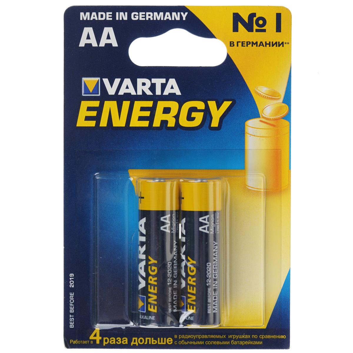 Батарейка Varta Energy, тип АА, 1,5В, 2 шт38Алкалиновые батарейки Varta Energy отличаются долгим сроком работы, подходят для аудио- видео- техники, а также другой электроники и бытовых приборов. Сделаны из качественных материалов.