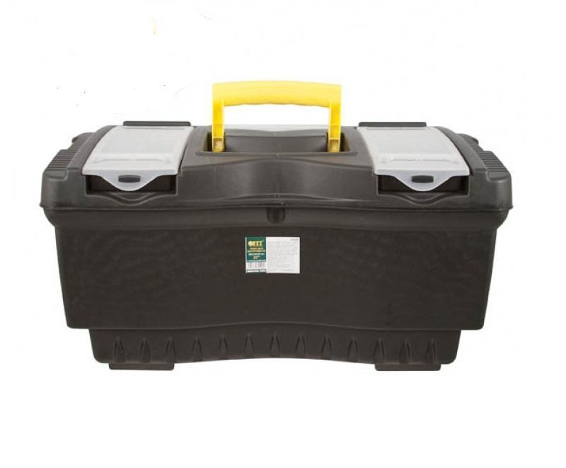Ящик для инструментов FIT, 56 х 33 х 29 см65558Ящик для инструментов FIT изготовлен из прочного пластика и предназначен для хранения и переноски инструментов. Вместительный, имеет съемный лоток, большое отделение и две защелки, не допускающие случайного открывания. Для более комфортного переноса в руках, на крышке ящика предусмотрена удобная ручка.