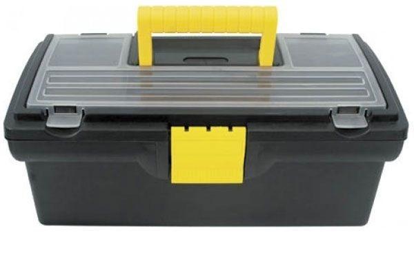 Ящик для инструментов пластиковый FIT, 40,5 см х 21,5 см х 16 см65501Ящик FIT 65501 используется для хранения и комфортной транспортировки различных инструментов, мелких деталей и крепежа. Данная модель отличается компактными габаритами и имеет длину по диагонали 16 дюймов. Также, ящик FIT 65501 изготовлен из пластика и оснащен удобным органайзером с крышкой для хранения мелких деталей и крепежа. Характеристики: Материал: пластик. Размеры ящика: 40,5 см х 21,5 см х 16 см. Глубина ящика: 11 см. Размеры лотка: 39 см х 18 см х 3,5 см. Размеры органайзеров: 36 см х 17 см х 2,5 см. Размеры упаковки: 40,5 см х 21,5 см х 16 см.