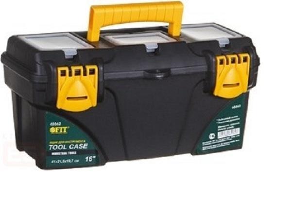 Ящик для инструментов пластиковый FIT, 53 см х 27,5 см х 29 см65564Ящик FIT 65564 предназначен для хранения и транспортировки инструмента, крепежа, мелких элементов и электродеталей. Данная модель отличается вместительными и оптимальными габаритами.Также, ящик FIT 65564 оснащен усиленной рукояткой для транспортировки и имеет три органайзера с крышкой. Характеристики: Материал: пластик. Размеры ящика: 53 см х 27,5 см х 29 см. Глубина ящика: 22,5 см. Размеры лотка (без учета ручки): 52,5 см х 25 см х 6,5 см. Размеры упаковки: 53 см х 27,5 см х 29 см.