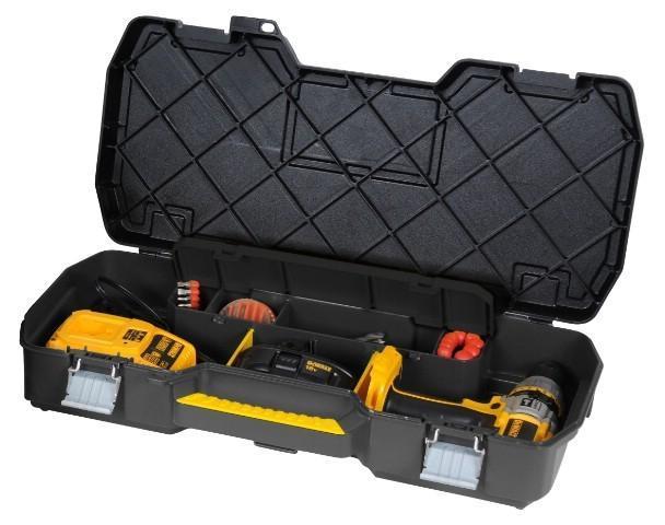 Ящик для инструмента с металлическими замками Stanley1-70-737Stanley 1-70-737 - кейс для электроинструмента с металлическими замками. Он содержит отделение для хранения сверл, а также отделения с перегородками для мелких деталей и аксессуаров. Модель имеет интегрированную ручку для переноски