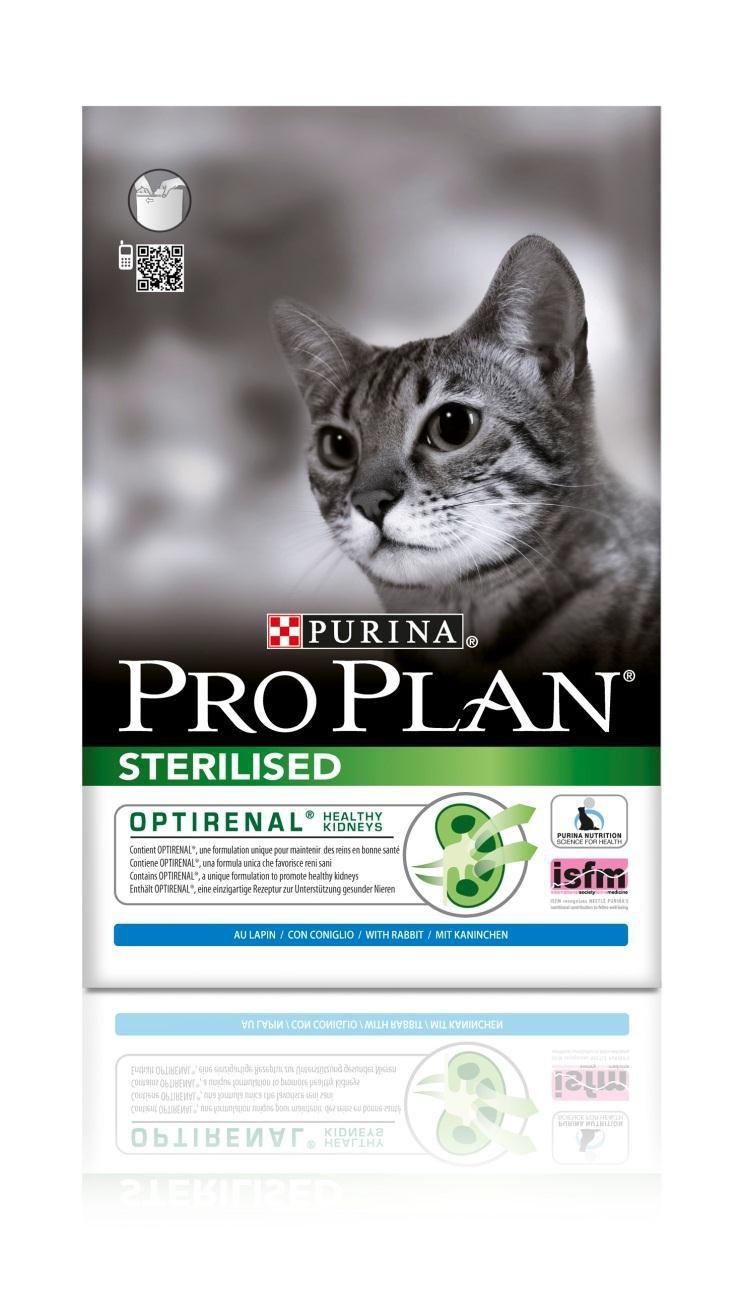 Корм сухой Pro Plan Sterilised для взрослых стерилизованных кошек и кастрированных котов, с кроликом, 1,5 кг0120710Сухой корм Pro Plan Sterilised - это полноценный рацион для взрослых стерилизованных кошек и кастрированных котов. Он содержит особую разработанную с участием ученых комбинацию ингредиентов для поддержания здоровья вашего питомца в течение продолжительного времени. Корм с высококачественным белком и низким содержанием жира, сочетающий все необходимые питательные вещества, включая витамины А, С и Е, а также Омега-3 и Омега-6 жирные кислоты. Обеспечивает баланс pH мочи. Особенности сухого корма: поддерживает здоровье мочевыводящей системы стерилизованных кошек и кастрированных котов, предотвращая риск развития заболевания нижнего отдела мочевыводящих путей,помогает защищать зубы от образования налета и зубного камня,помогает поддерживать здоровый вес,содержит уникальную формулу для поддержания здоровья почек.Состав: курица, кукурузный глютен, рис, сухой белок птицы, кукуруза, концентрат горохового белка, пшеничный глютен, пшеничная клетчатка, кролик (4%), минеральные вещества, яичный порошок, животный жир, рыбий жир, вкусоароматическая кормовая добавка, дрожжи. Анализ: белок: 41%, жир: 12%, сырая зола: 7%, сырая клетчатка: 4,5%.Добавки на кг: витамин А: 35 000; витамин D3: 1100; витамин Е: 670 мг/кг; железо: 230; йод: 3; медь: 46; марганец: 110; цинк: 390; селен: 0,27 мг/кг.Товар сертифицирован.