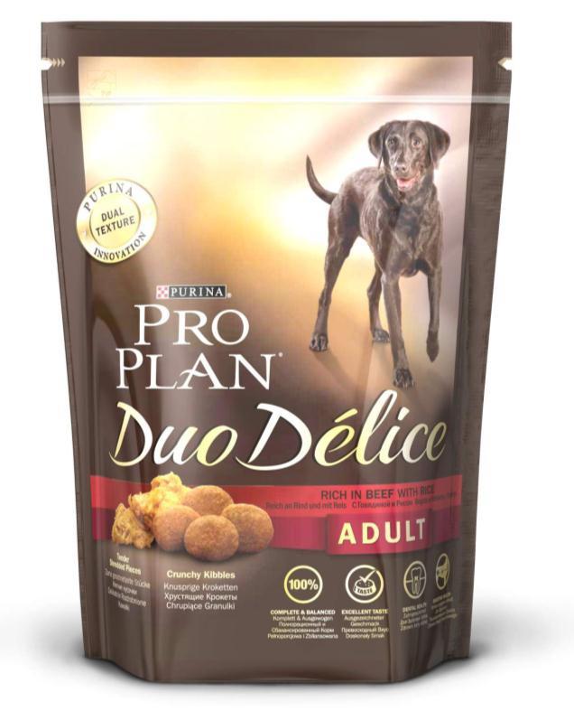 Корм сухой для собак Pro Plan Duo Delice, с говядиной и рисом, 700 г12202610Сухой корм Pro Plan Duo Delice - это полнорационный корм для взрослых собак, с говядиной и рисом. Корм обеспечивает правильный баланс питательных веществ для поддержания здоровья и хорошего самочувствия взрослых собак. Тщательно отобранные ингредиенты и специально разработанный процесс приготовления обеспечивают высокую усвояемость корма, благодаря чему собаки получают необходимые им питательные вещества. Собаки обожают инновационное сочетание хрустящих крокет и мягких кусочков, в которых основным ингредиентом является говядина. Уникальное сочетание хрустящих крокет и мягких кусочков побуждает собаку с удовольствием пережевывать корм. Механическое воздействие хрустящих крокет на зубы вашей собаки, действует как зубная щетка, тем самым способствует уменьшению отложения зубного камня. Содержащаяся в корме клетчатка помогает поддерживать здоровье пищеварительного тракта, помогает улучшить качество стула, а белок из специально выбранных ингредиентов легко...