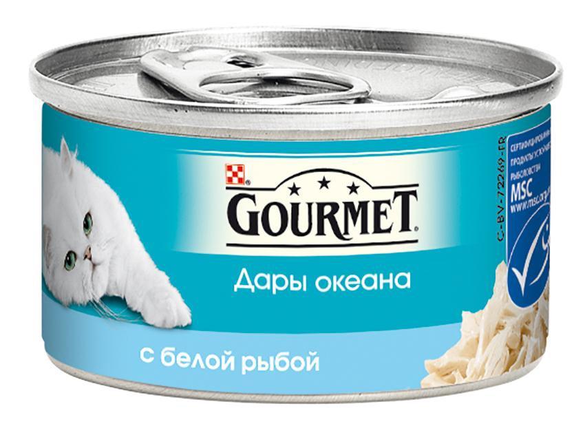 Консервы Gourmet Дары океана для кошек, с белой рыбой, 85 г12263690Корм Gourmet Дары океана - это изысканное разнообразие рыбных блюд, которыми вы можете побаловать вашего любимца. Ваша кошка высоко оценит нежные кусочки из рыбы, приготовленные в аппетитном соусе. Состав: рыба и продукты переработки рыбы (в том числе белой рыбы 4%), экстракт растительного белка, мясо и продукты переработки мяса 2,5%, рыбий жир, растительное масло, сорбитол, сахара, минеральные вещества, красители, витамины. Добавленные вещества: МЕ/кг: витамин A 1960, витамин D3 140, мг/кг: железо 19, йод 0,15, медь 0,93, марганец, 1,3, цинк 19. Гарантируемые показатели: влажность 81,3%, белок 10,6%, жир 2,5%, сырая зола 1,9%, сырая клетчатка 0,8%. Товар сертифицирован.