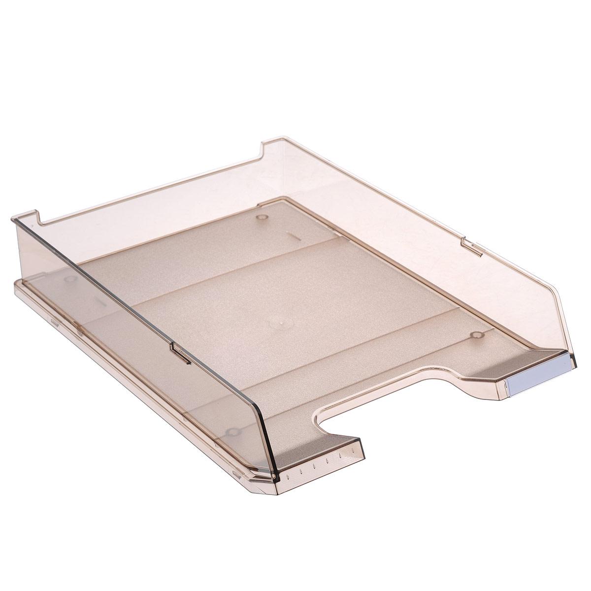 Лоток для бумаг горизонтальный HAN C4, прозрачный, цвет: черный353.FГоризонтальный лоток для бумаг HAN C4 предназначен для хранения бумаг и документов формата А4. Лоток с оригинальным дизайном корпуса поможет вам навести порядок на столе и сэкономить пространство.Лоток изготовлен из экологически чистого прозрачного антистатического пластика. Приподнятая фронтальная часть лотка облегчает изъятие документов из накопителя. Лоток имеет пластиковые ножки, предотвращающие скольжение по столу. Также лоток оснащен небольшим прозрачным окошком для этикетки. Лоток для бумаг станет незаменимым помощником для работы с бумагами дома или в офисе, а его стильный дизайн впишется в любой интерьер. Благодаря лотку для бумаг, важные бумаги и документы всегда будут под рукой.Несколько лотков можно ставить друг на друга, один в другой и друг на друга со смещением.