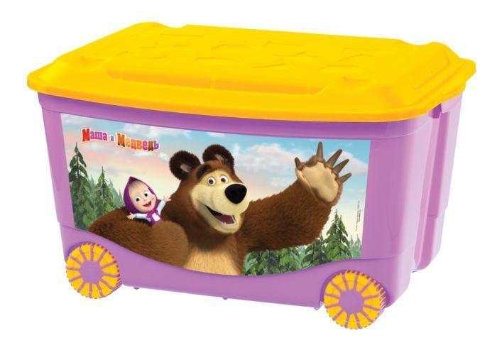 Ящик для игрушек Маша и медведь, на колесах, цвет: сиреневый, желтый, 58 см х 39 см х 35 см10503Яркий и оригинальный ящик на колесах с забавными персонажами непременно привлечет внимание ребенка и станет незаменимым для хранения игрушек, книжек и других детских принадлежностей. Он отлично впишется в детскую комнату и поможет приучить ребенка к порядку. 2-х цветные колеса ящика покрыты специальным эластичным материалом, который увеличивает устойчивость и снижает шум при соприкосновении с различными напольными покрытиями. У ящика имеются удобные ручки для переноски, а также специальные отверстия, через которые можно продеть тесьму или веревку, чтобы ребенок мог легко передвигать его. Крышка ящика декорирована геометрическими фигурами. Ящик безопасен благодаря своей форме с закругленными углами. Конструкция замков позволяет фиксировать крышку, что препятствует попаданию пыли, влаги, насекомых. Ящики хорошо штабелируются. Характеристики:Материал: пластик. Цвет: оранжевый, желтый. Размер ящика: 58 см х 39 см х 35 см. Артикул: C13794.