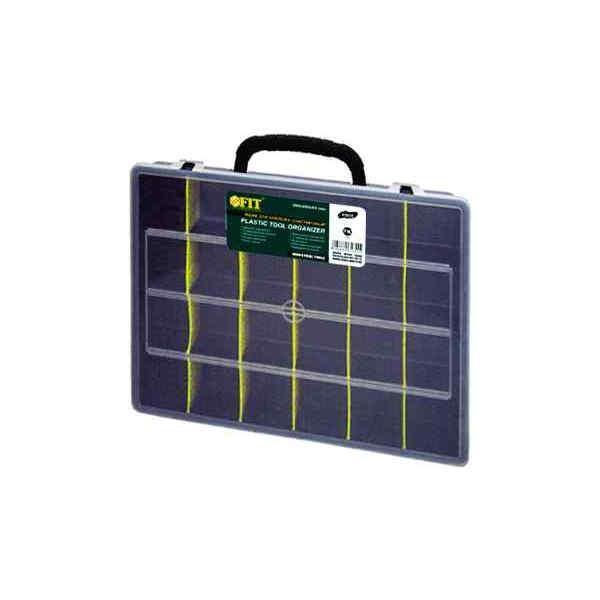 Ящик для крепежа FIT, 36 х 28 х 7 см65Ящик FIT 65 - вместительное, легкое и удобное приспособление для хранения и комфортной транспортировки различного инструмента, крепежа, оснастки и других мелких деталей. Данная модель отличается вместительной конструкцией и имеет длину по диагонали 14. Также, ящик FIT 65 оснащен переставными перегородками для наиболее оптимальной организации пространства.