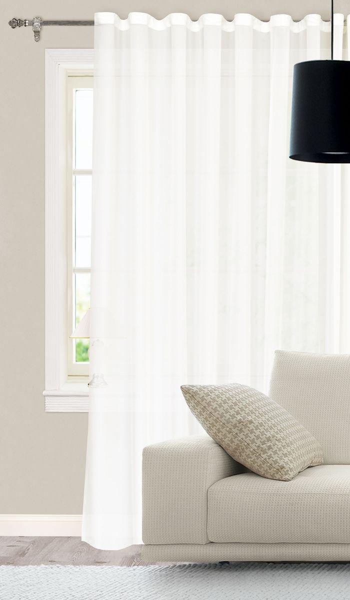 Штора готовая для гостиной Garden, на ленте, цвет: белый, размер 300*260 см. С535898V1С535898V1Изящная тюлевая штора Garden выполнена из высококачественной микровуали (100% полиэстера). Полупрозрачная ткань, приятный цвет привлекут к себе внимание и органично впишутся в интерьер помещения. Такая штора идеально подходит для солнечных комнат. Мягко рассеивая прямые лучи, она хорошо пропускает дневной свет и защищает от посторонних глаз. Отличное решение для многослойного оформления окон. Эта штора будет долгое время радовать вас и вашу семью! Штора крепится на карниз при помощи ленты, которая поможет красиво и равномерно задрапировать верх.