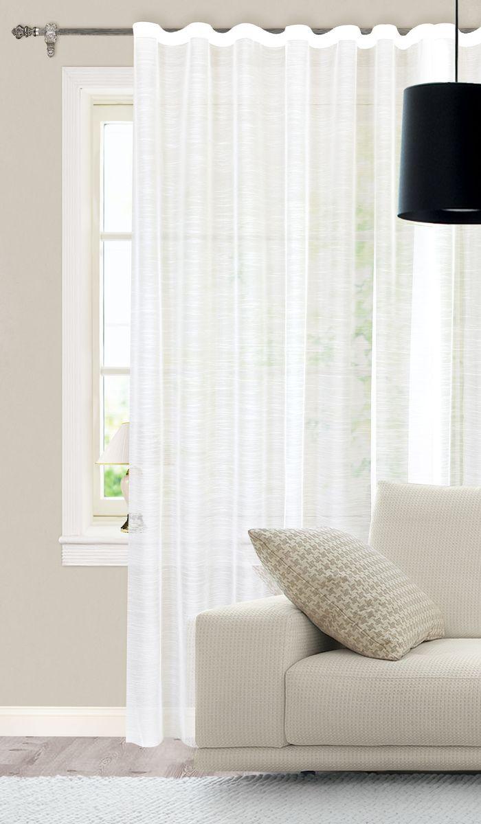 Штора готовая для гостиной Garden, на ленте, цвет: молочный, размер 300*260 см. С537065V310503Изящная штора Garden выполнена из высококачественного шифона гофре (100% полиэстера). Полупрозрачная ткань, приятный цвет привлекут к себе внимание и органично впишутся в интерьер помещения. Такая штора идеально подходит для солнечных комнат. Мягко рассеивая прямые лучи, она хорошо пропускает дневной свет и защищает от посторонних глаз. Отличное решение для многослойного оформления окон. Эта штора будет долгое время радовать вас и вашу семью!Штора крепится на карниз при помощи ленты, которая поможет красиво и равномерно задрапировать верх.