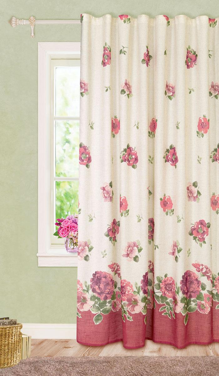 Штора готовая для гостиной Garden, на ленте, цвет: темно-розовый, размер 200*280 см. С10229-W1222V8С10229-W1222V8Роскошная портьерная штора Garden выполнена из ткани рогожка (93% полиэстера и 7% льна). Материал плотный и мягкий на ощупь. Оригинальная текстура ткани и изящный цветочный принт привлекут к себе внимание и органично впишутся в интерьер помещения. Эта штора будет долгое время радовать вас и вашу семью! Штора крепится на карниз при помощи ленты, которая поможет красиво и равномерно задрапировать верх. Стирка при температуре 30°С.