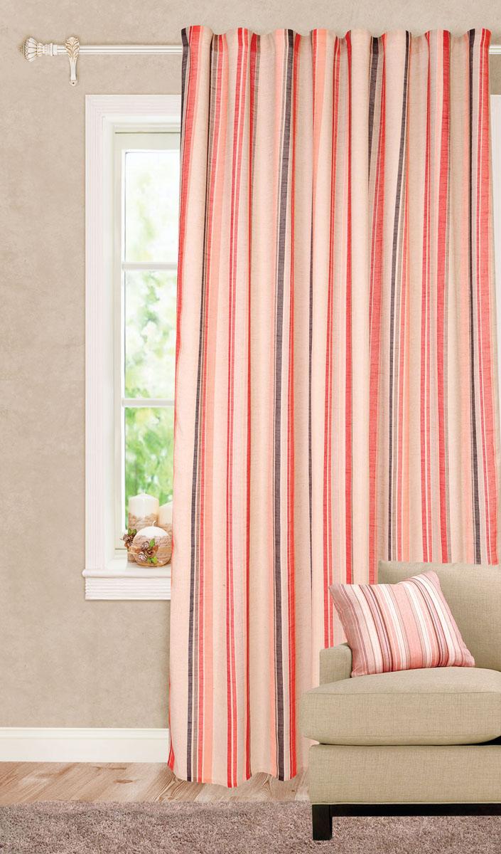 Штора готовая для гостиной Garden Decorato, на ленте, цвет: красный, размер 200*280 см. С 8178 - W1222 V19С8178-W1222V10Роскошная портьерная штора Garden Decorato выполнена из ткани рогожка (93% полиэстера и 7% льна) с печатью. Материал плотный и мягкий на ощупь. Оригинальная текстура ткани и яркий принт в полоску привлекут к себе внимание и органично впишутся в интерьер помещения. Эта штора будет долгое время радовать вас и вашу семью! Штора крепится на карниз при помощи ленты, которая поможет красиво и равномерно задрапировать верх.