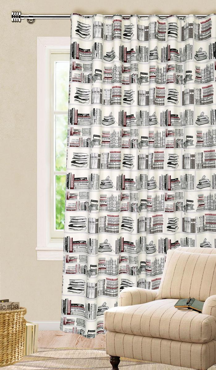 Штора готовая для гостиной Garden, на ленте, цвет: серый, черный, размер 200*280 см. С9154-W1687V2С9154-W1687V2Роскошная штора-портьера Garden выполнена из ткани репс (100% полиэстера). Материал плотный и мягкий на ощупь. Оригинальная текстура ткани и яркие изображения книг привлекут к себе внимание и органично впишутся в интерьер помещения. Эта штора будет долгое время радовать вас и вашу семью! Штора крепится на карниз при помощи ленты, которая поможет красиво и равномерно задрапировать верх. Стирка при температуре 30°С.