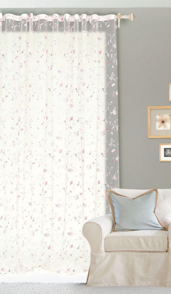 Штора готовая для гостиной Garden Розовые цветы, на ленте, цвет: розовый, размер 300*260 смС10250-W260V4Изящная тюлевая штора Garden Розовые цветы выполнена из высококачественной органзы (полиэстера). Полупрозрачная ткань, приятный цвет привлекут к себе внимание и органично впишутся в интерьер помещения. Такая штора идеально подходит для солнечных комнат. Мягко рассеивая прямые лучи, она хорошо пропускает дневной свет и защищает от посторонних глаз. Отличное решение для многослойного оформления окон. Эта штора будет долгое время радовать вас и вашу семью! Штора крепится на карниз при помощи ленты, которая поможет красиво и равномерно задрапировать верх.