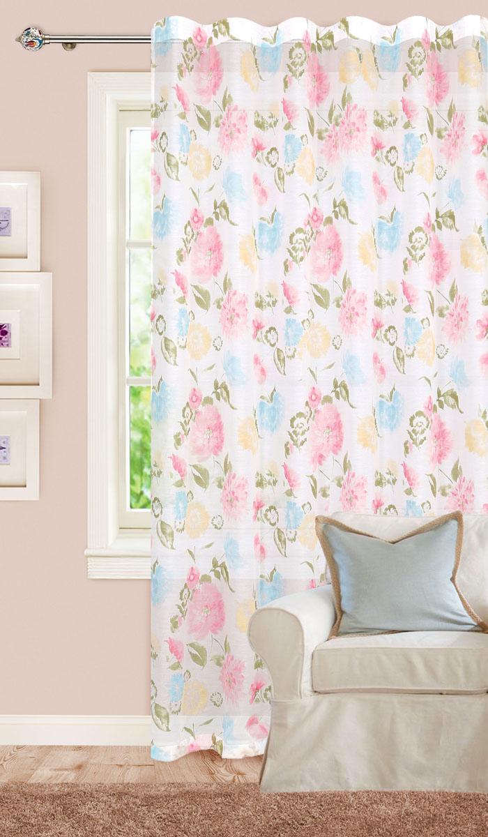 Штора готовая для гостиной Garden, на ленте, цвет: розовый, голубой, размер 300* 260 см. С 7224 - W356 V31С 7224 - W356 V31Готовая тюлевая штора для гостиной Garden выполнена из микро батиста (100% полиэстера) с изящным цветочным рисунком. Полупрозрачность материала и нежная цветовая гамма привлекут к себе внимание и органично впишутся в интерьер комнаты. Штора крепится на карниз при помощи ленты, которая поможет красиво и равномерно задрапировать верх. Штора Garden великолепно украсит любое окно. Стирка при температуре 30°С.