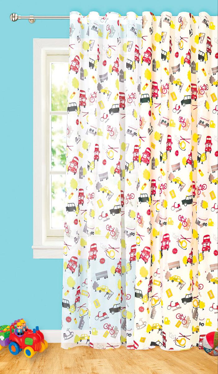 Штора готовая Машины, на ленте, цвет: белый, желтый, красный, размер 200* 260 см. С 8187 - W1936 V1S03301004Изящная портьерная штора Garden Машины выполнена из высококачественного сатина (100% полиэстера) с печатью. Плотная ткань, приятный цвет привлекут к себе внимание. Оригинальная текстура ткани и необычный рисунок в городском мотиве привлекут к себе внимание и органично впишутся в интерьер помещения.Эта штора будет долгое время радовать вас и вашу семью!Штора крепится на карниз при помощи ленты, которая поможет красиво и равномерно задрапировать верх.