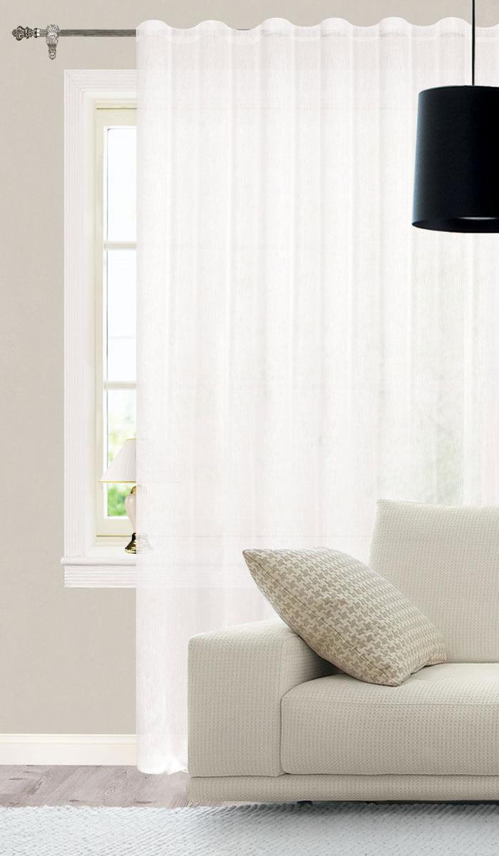 Штора готовая для гостиной Garden, на ленте, цвет: белый, размер 300* 260 см. СW1741V7000010503Изящная тюлевая штора Garden выполнена из структурной органзы (полиэстера). Полупрозрачная ткань, приятный цвет привлекут к себе внимание и органично впишутся в интерьер помещения. Такая штора идеально подходит для солнечных комнат. Мягко рассеивая прямые лучи, она хорошо пропускает дневной свет и защищает от посторонних глаз. Отличное решение для многослойного оформления окон. Эта штора будет долгое время радовать вас и вашу семью!Штора крепится на карниз при помощи ленты, которая поможет красиво и равномерно задрапировать верх.