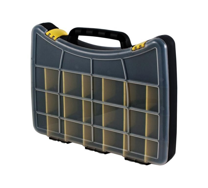 Ящик для крепежа FIT, 30 х 22,5 х 4,5 см63Ящик FIT 63 благодаря своим компактным размерам позволит хранить все необходимое в одном месте: крепеж, инструмент и различные расходные материалы. Следует отметить, что модель оснащена специальными переставными перегородками и поделена на 22 отсека.