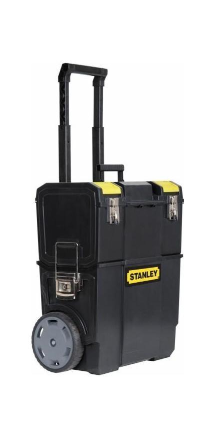Ящик с колесами Mobile Work Center 2 в 11-70-327Ящик для инструментов Stanley 1-70-327 оптимизируют хранение, позволяя расположить все необходимые для проведения работ инструменты, так как вам удобно. Благодаря ящику каждый инструмент будет находится на своем месте. Конструкция ящика представляет собой универсальное решение для хранения инструментов различной формы, а также мелких деталей. Stanley 1-70-327 содержит съемный верхний ящик с отделением для хранения мелких деталей в крышке, съемную среднюю секцию для мелких деталей и аксессуаров. Также в ящике есть большое нижнее отделение, отделение большого объема для электроинструментов, а также секции для ручного инструмента, мелких деталей и аксессуаров. С помощью съемного лотка для наиболее часто используемого инструмента вы сможете перемещать только небольшую часть необходимых на данный момент инструментов. Легкость перемещения всего ящика в целом обеспечивается колесами диаметром 7 дюймов (178 мм), и удобной ручкой. Материал: пластик