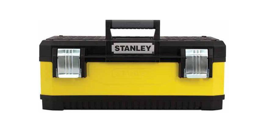 Ящик для инструментов Stanley 23, 59 см х 28 см х 21 см1-95-613Большой металло-пластиковый ящик для инструментов Stanley 1-95-613. Стенки ящика выполнены из окрашенного металла. Крышка ящика сделана из прочного пластика с рифленой поверхностью и пазом для удержания пиломатериалов. Ящик закрывается двумя большими металлическими замками с возможностью дополнительного запирания на навесной замок. Характеристики: Материал: пластик, металл. Размеры ящика: 59 см х 28 см х 21 см. Глубина ящика: 15 см. Размеры лотка: 38 см х 24 см х 4 см. Размеры упаковки: 59 см х 28 см х 21 см.