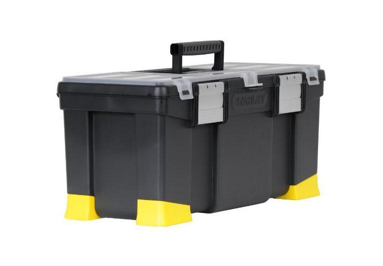 Ящик для инструментов Stanley Classic Stanley с органайзером, 221-97-512Высокопрочный профессиональный ящик для инструментов Classic Stanley 1-97-512 сочетает в себе эргономичность, доступную цену и высокое качество изделия. Ящик дает возможность содержать свои инструменты и расходные материалы в порядке. Под прозрачной крышкой расположен лоток с ручкой, который фиксируется алюминиевыми замками. Во вместительных отделениях ящика можно хранить молотки, ножницы, рулетку, пассатижи и т.п. Ударостойкий корпус ящика для инструментов Classic Stanley 1-97-512 легкий и удобный в использовании. Для электрика, маляра, отделочника ящик Classic Stanley 1-97-512 — настоящий подарок.Ударопрочный пластмассовый корпус;Алюминиевые защелки;Прочные пластмассовые опорные элементы;Съемное внутреннее отделение-лоток. Характеристики: Материал: пластик, металл. Размеры ящика: 55,6 см х 25,7 см х 24,8 см. Грубина ящика: 21 см. Размер лотка: 52 см х 19 см х 4 см. Размер упаковки: 55,6 см х 25,7 см х 24,8 см.