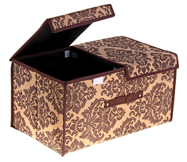 контейнер для хранения (жесткий) 50*30*25см коричневый, 2 отделения с 2 крышками, 709727709727Декоративный контейнер - отличный способ для хранение вещей! Благодаря универсальности изделия, в контейнере можно хранить самые разнообразные вещи: бижутерию, лекарства, швейные принадлежности.Такой контейнер поможет держать вещи в порядке. Декоративный контейнер даст Вам возможность сохранить все в одном месте, а также защитить вещи от пыли, грязи и влаги. Материал: флизелин,картон