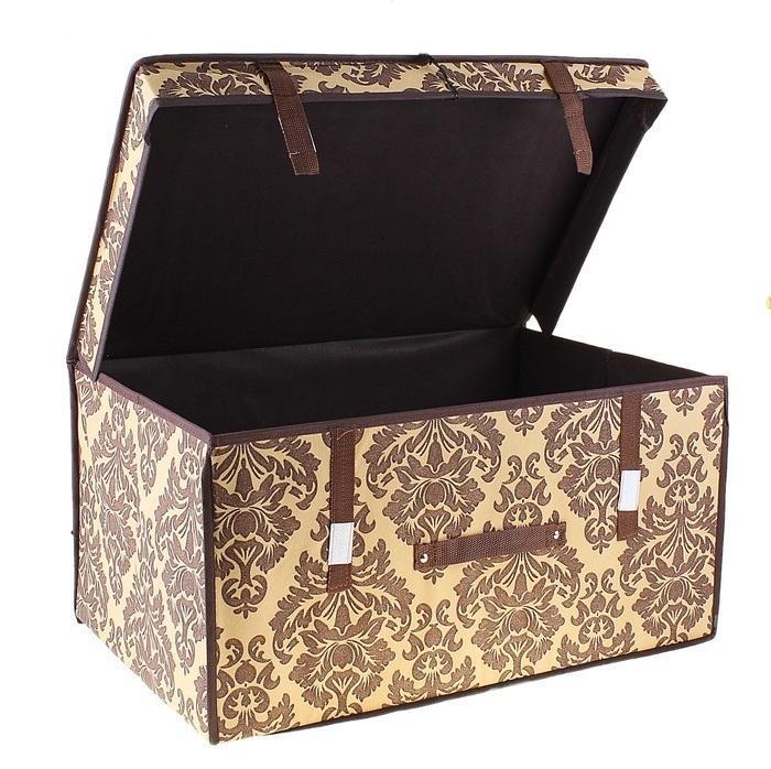 контейнер для хранения(жёсткий) 60*40*30см,коричневый 709750FS-91909Декоративный контейнер - отличный способ для хранение вещей!Благодаря универсальности изделия, в контейнере можно хранить самые разнообразные вещи: бижутерию, лекарства, швейные принадлежности.Такой контейнер поможет держать вещи в порядке. Декоративный контейнер даст Вам возможность сохранить все в одном месте, а также защитить вещи от пыли, грязи и влаги. Материал: Флизелин,картон
