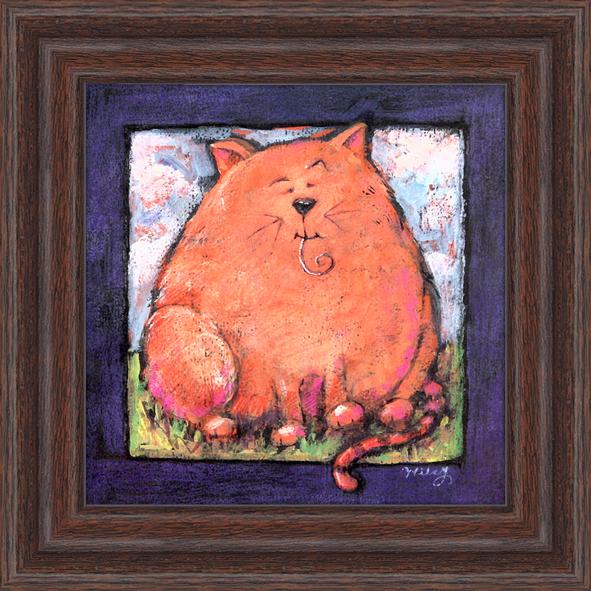 Пухлый кот. 18см х 18см18х18 JW12286-872174Постер, в глянцевой ламинации, и пластиковой раме.
