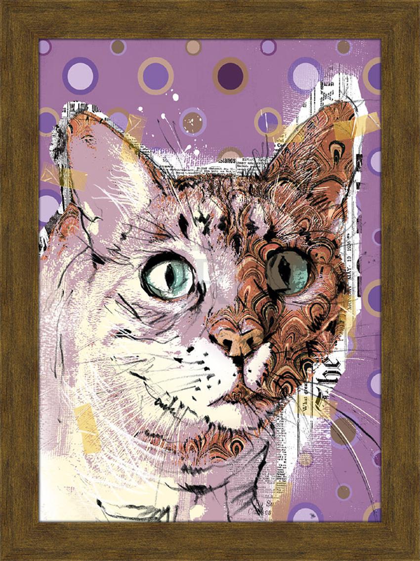 Портрет кота с бирюзовыми глазами. 30см х 40см30х40 R1369-314119Постер, в глянцевой ламинации, и пластиковой раме.