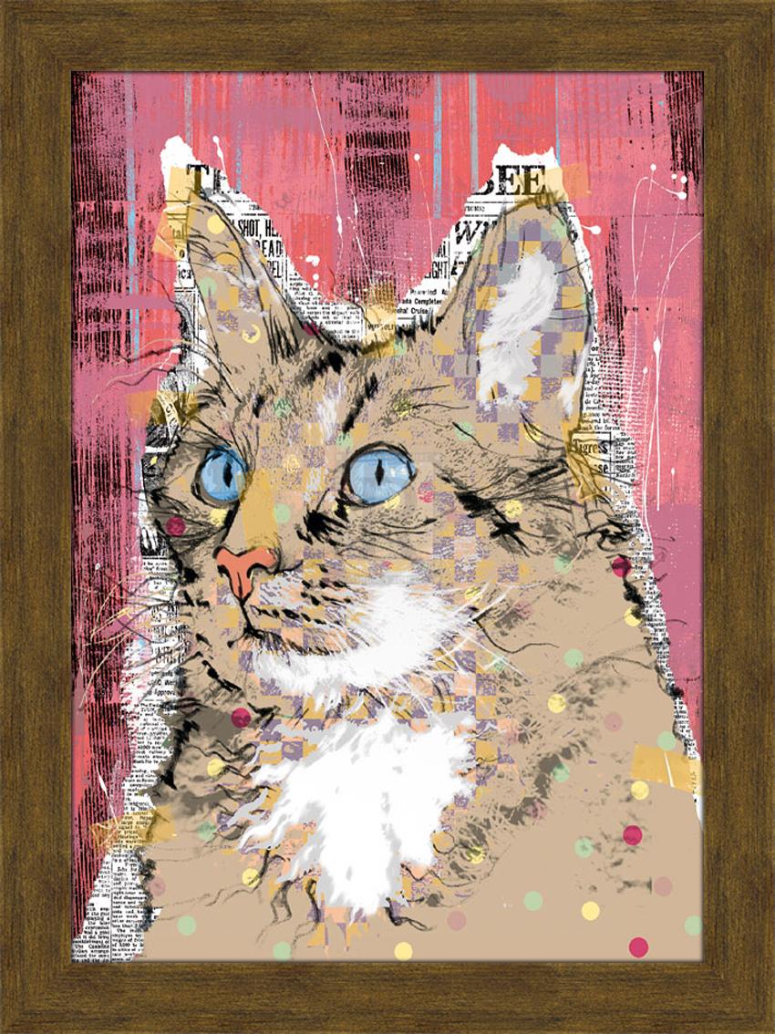 Портрет кота с голубыми глазами. 30см х 40см30х40 R1371-314119Постер, в глянцевой ламинации, и пластиковой раме.