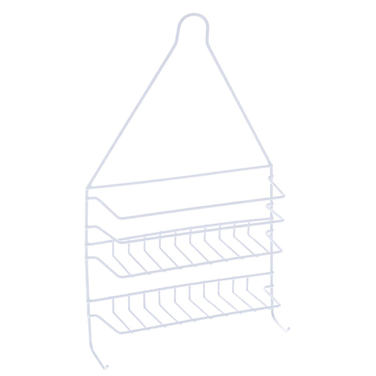 Полка Доляна, 2-х ярусная, цвет: белый, высота 44 см852959Полка Доляна выполнена из высококачественного металла и предназначена для хранения вещей в ванной комнате. Полка состоит из 2-х ярусов прямоугольной формы и двух крючков. Она пригодится для хранения различных предметов, которые всегда будут под рукой. Благодаря компактным размерам полка впишется в интерьер вашего дома и позволит вам удобно и практично хранить предметы домашнего обихода. Удобная и практичная металлическая полочка станет незаменимым аксессуаром в вашем хозяйстве. Высота полки: 44 см. Размер яруса: 21 см х 7 см. Расстояние между ярусами: 7 см.